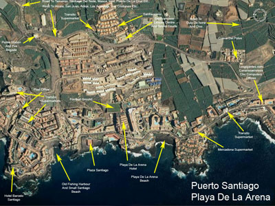 Puerto de Santiago and Playa de la Arena map