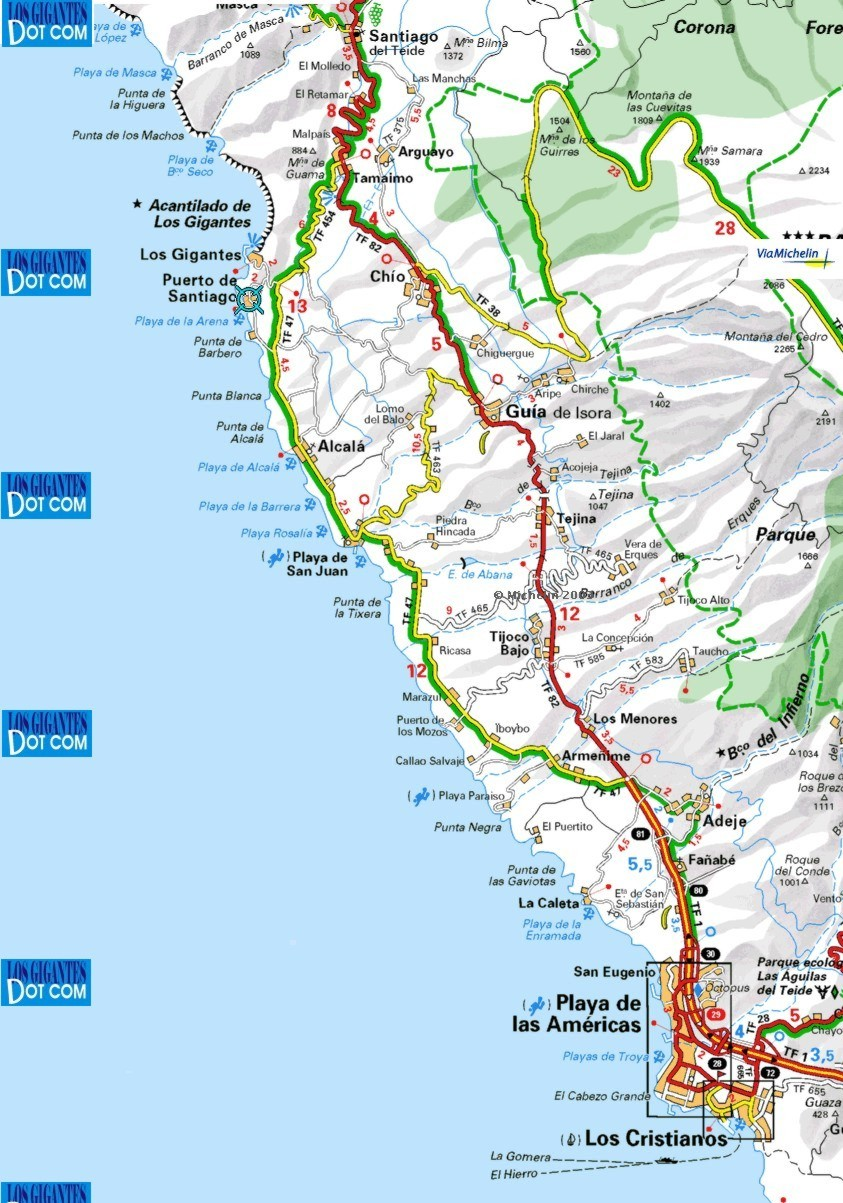 Maps to the local area Los Gigantes Puerto Santiago and Playa de la