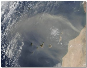 calima over Canary Islands